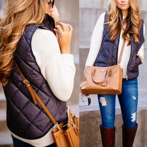 J Crew Quilted Navy Puff Vest Size XS